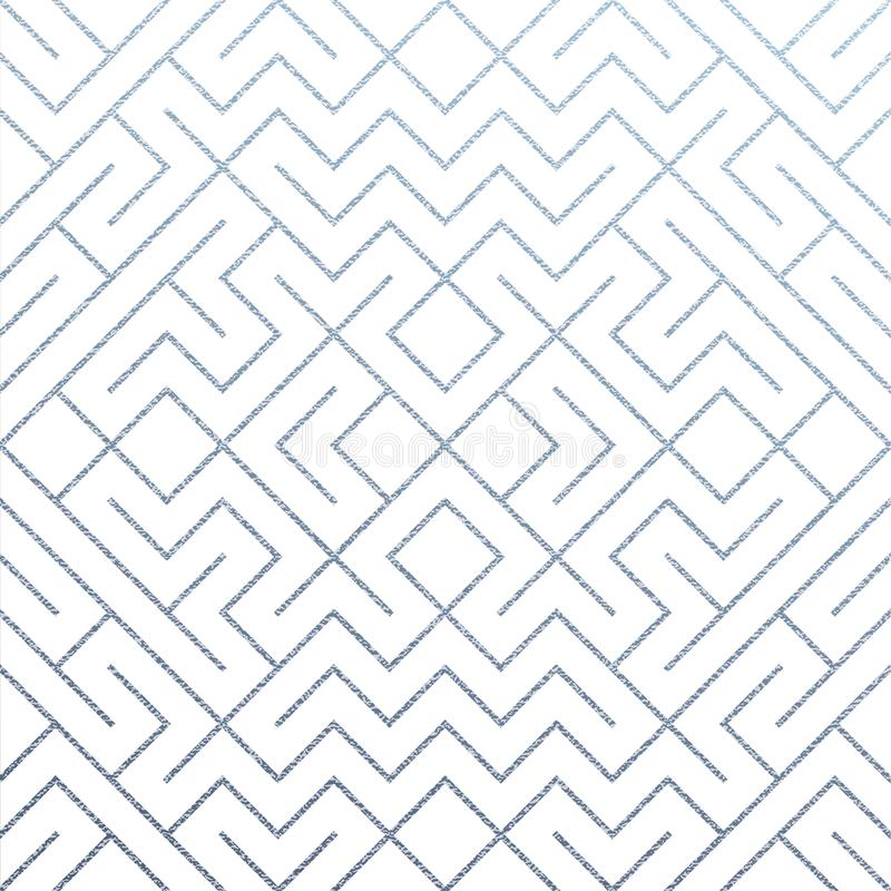 Srebny abstrakcjonistyczny geometryczny deseniowy tło z błyskotliwości siatki teksturą Wektorowy bezszwowy ozdobny geometria wzór ilustracja wektor