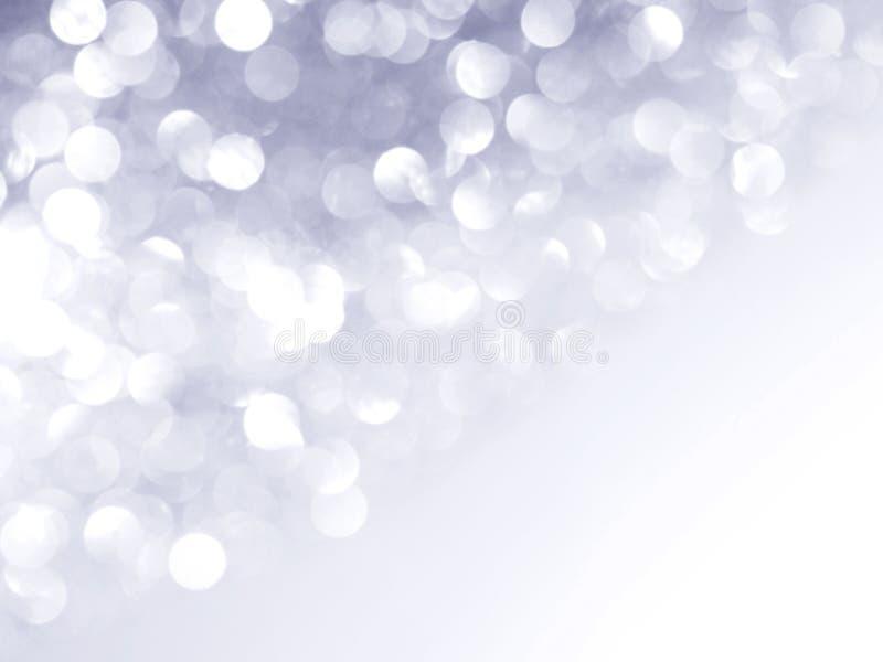 Srebny abstrakt blured tło i biały bokeh obraz stock
