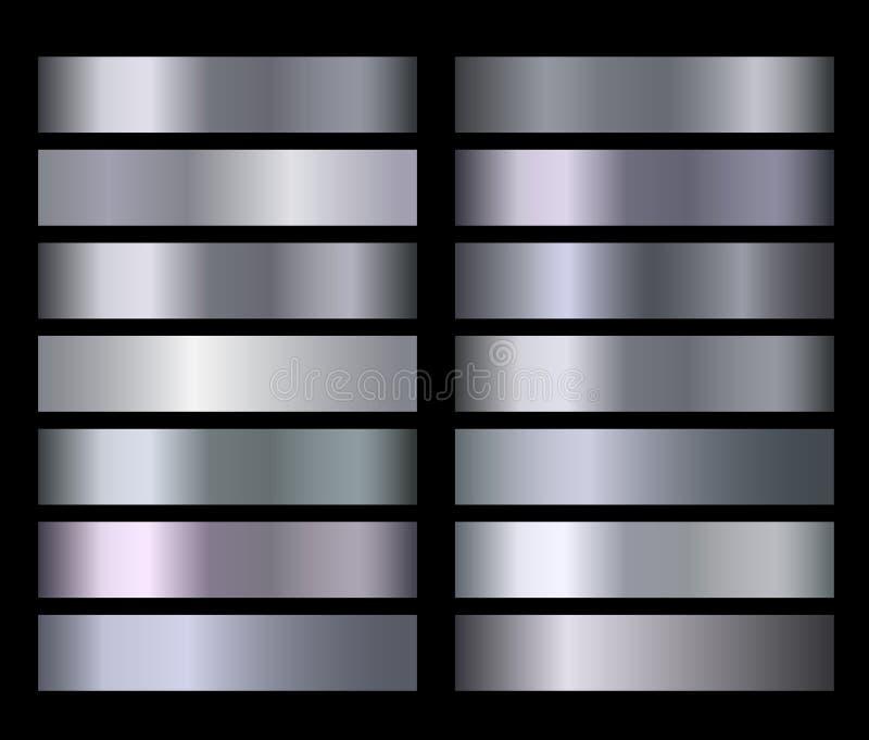 Srebny błękitny kruszcowy, brązowy, złocisty, chromu metalu folii tekstury wektoru gradienty ilustracja wektor