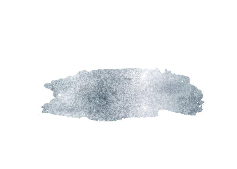 Srebny błyskotliwości folii muśnięcia uderzenia wektor Argent farba rozmazu tło odizolowywający na bielu Jarzeniowy metalu wzór ilustracji