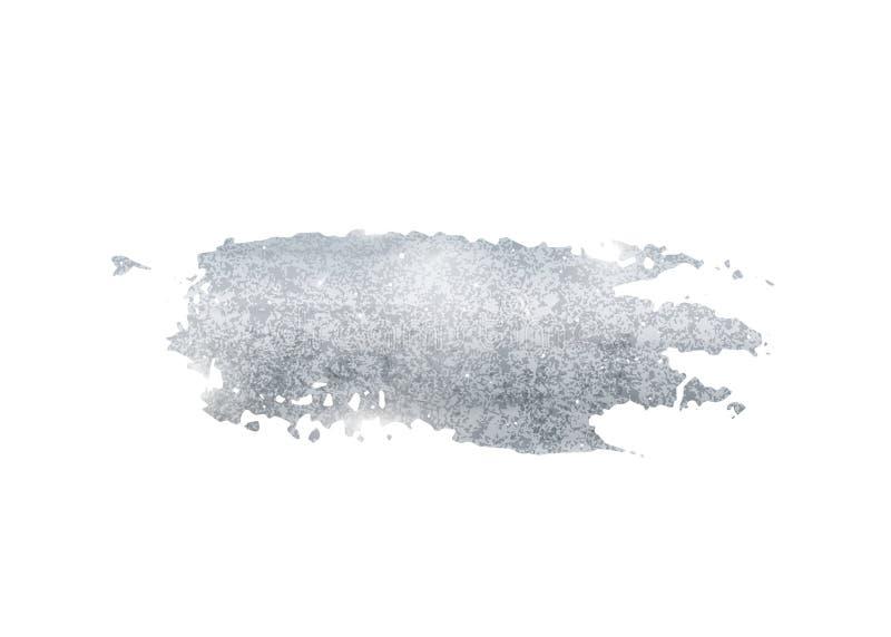 Srebny błyskotliwości folii muśnięcia uderzenia wektor Argent farba rozmazu tło odizolowywający na bielu Jarzeniowy metalu wzór royalty ilustracja