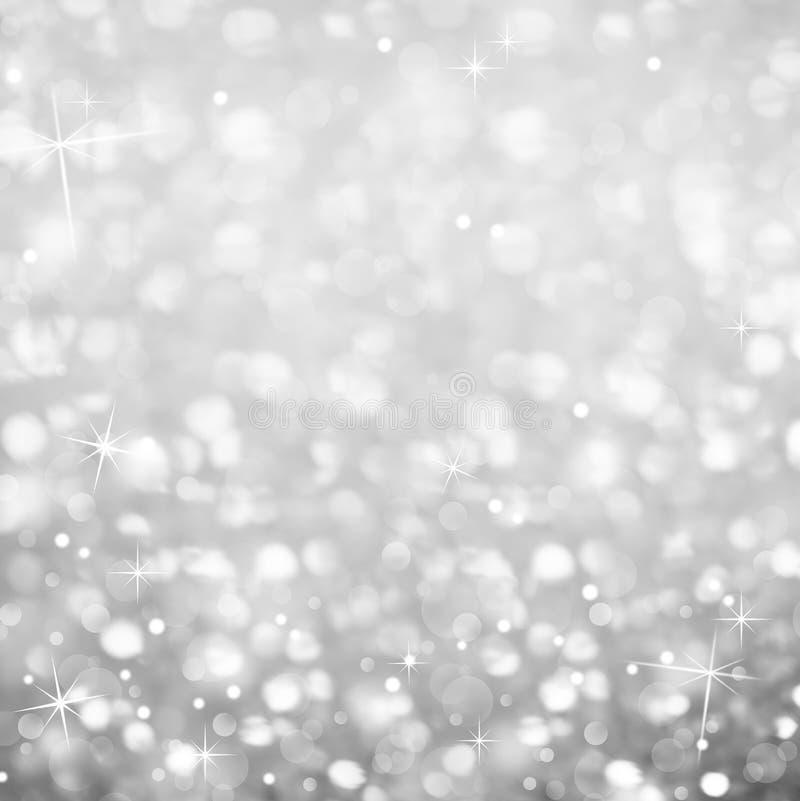 Srebny Błyskotliwy tło - magii gwiazdy i światło Błyskamy obraz royalty free