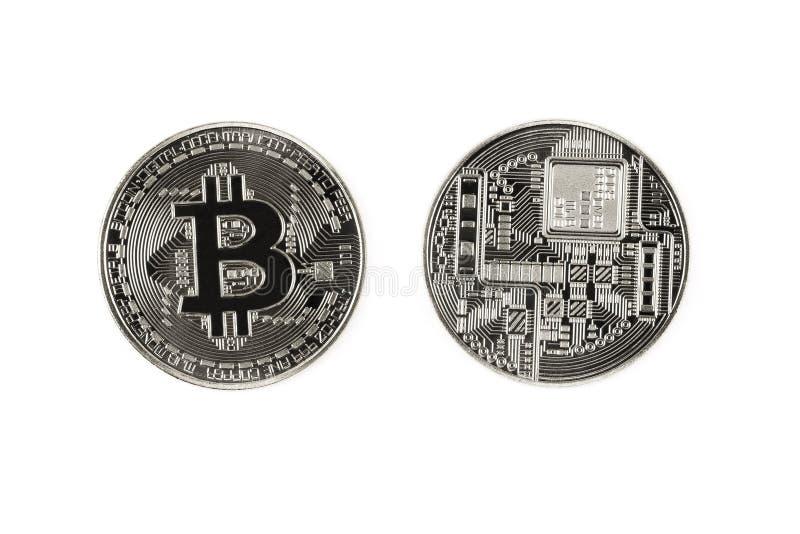 Srebny bitcoin obraz stock