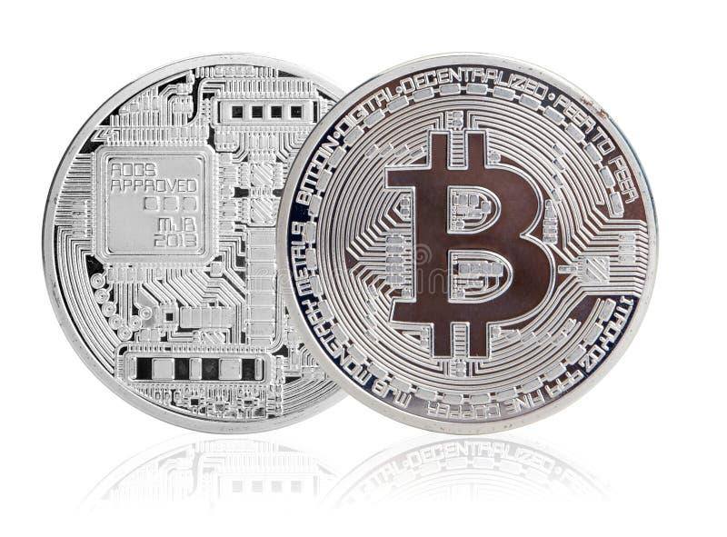 Srebny bitcoin zdjęcia royalty free