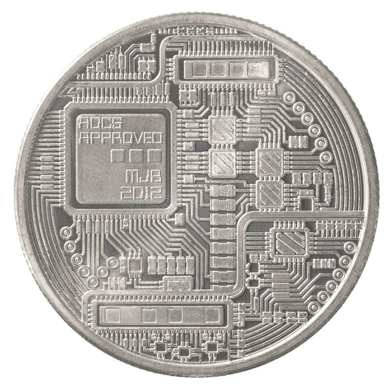 Srebny bitcoin obraz royalty free