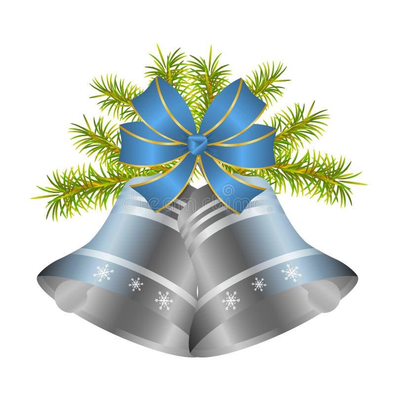 Srebny Bożenarodzeniowy dzwon i dekoracyjny błękitny łęk z złotem graniczymy royalty ilustracja