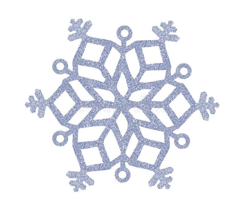 Srebny Bożenarodzeniowy płatek śniegu odizolowywający na bielu zdjęcie royalty free