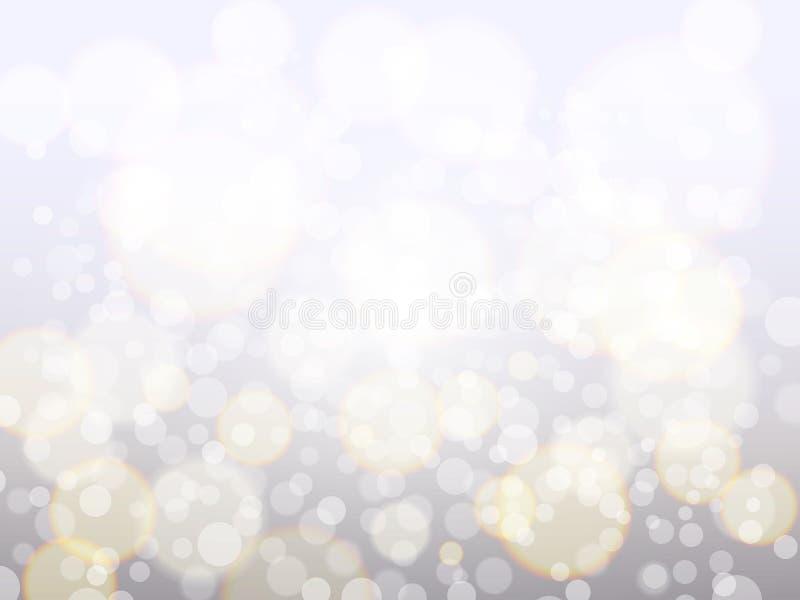 Srebny bokeh tło Bożenarodzeniowy tła pojęcie zestawienia zamazujący światła Jaskrawy rozjarzony błyskotanie i pył świąteczny ilustracja wektor