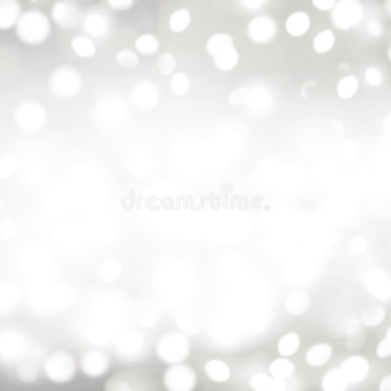 Srebny bokeh zaświeca Bożenarodzeniowego tło Abstrakcjonistyczna Świąteczna karta zdjęcie stock