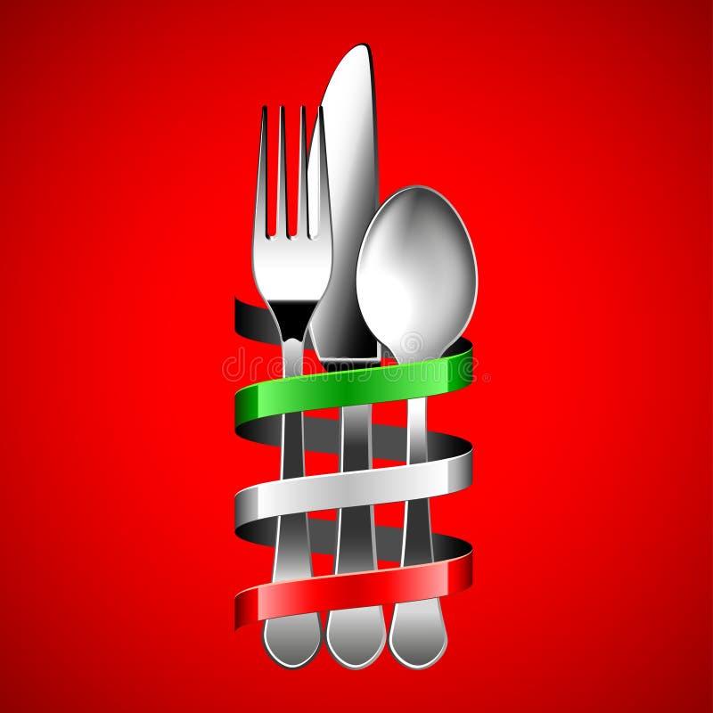 Srebny cutlery i włocha chorągwiany faborek na czerwonym tle royalty ilustracja