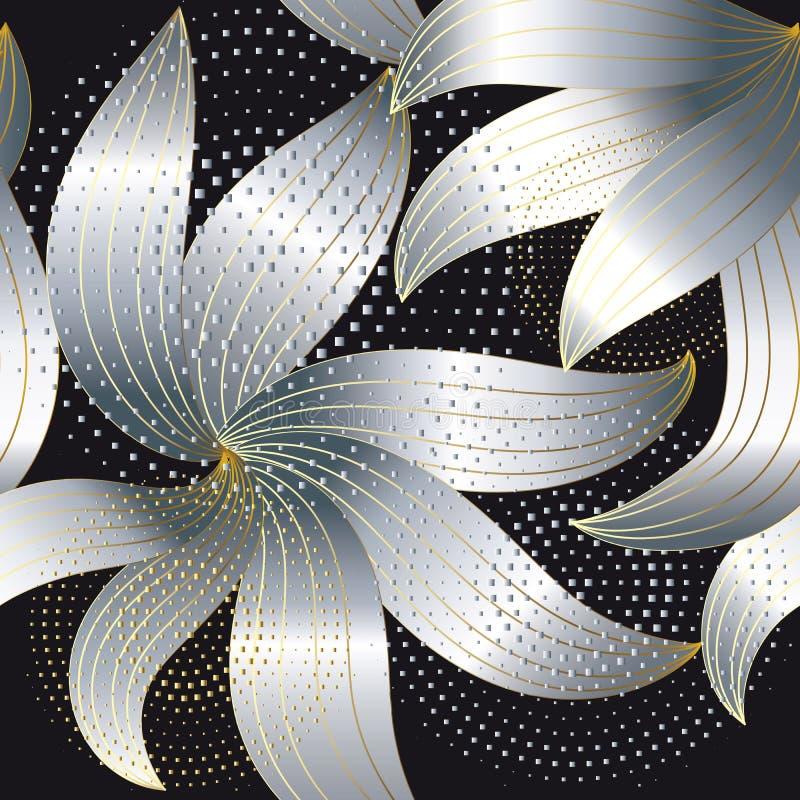 Srebny 3d paskował kwiatu wektorowego bezszwowego wzór Nowożytny abstra royalty ilustracja