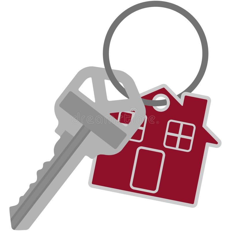 Srebny domu klucz na Kluczowego pierścionku ilustraci ilustracja wektor