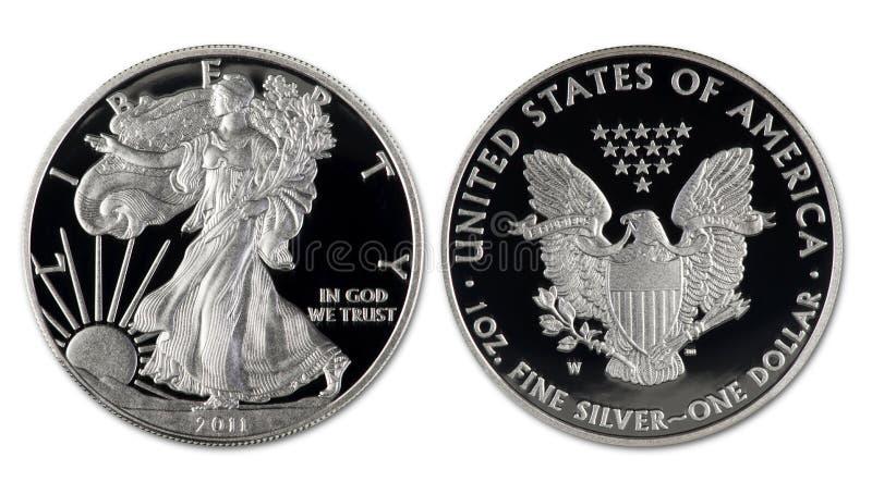 Srebny Eagle dolar zdjęcia royalty free