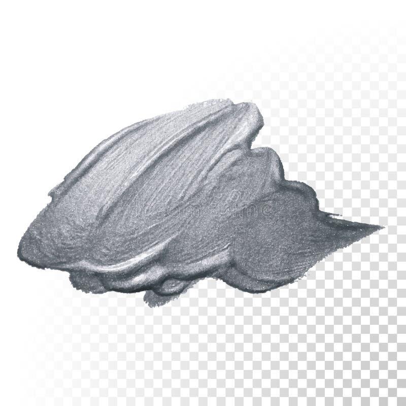 Srebny farby muśnięcia uderzenia lub abstrakt odrobiny rozmaz z srebną błyskotliwości smudge teksturą na przejrzystym tle Wektoru ilustracja wektor
