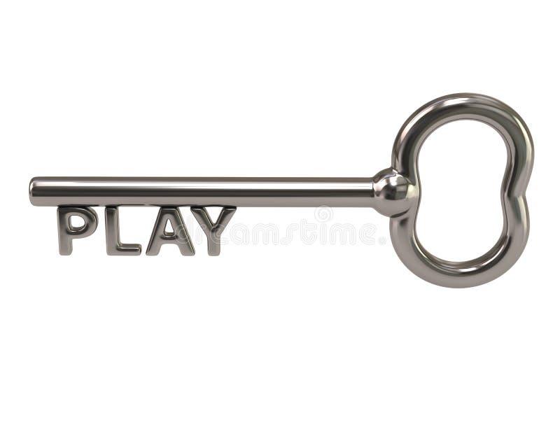 Srebny klucz z słowo sztuką ilustracja wektor