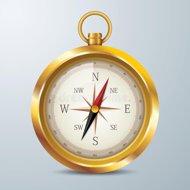 Srebny kompas, Odosobniony rocznika metal ilustracja wektor