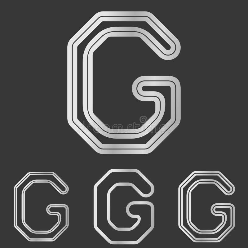Srebny linii g logo projekta set ilustracji