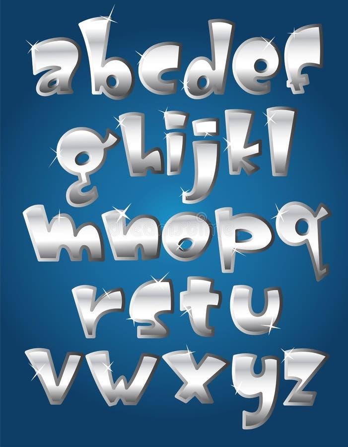 Srebny lowercase abecadło ilustracja wektor