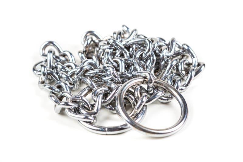 Srebny metal dławi łańcuch zdjęcie royalty free