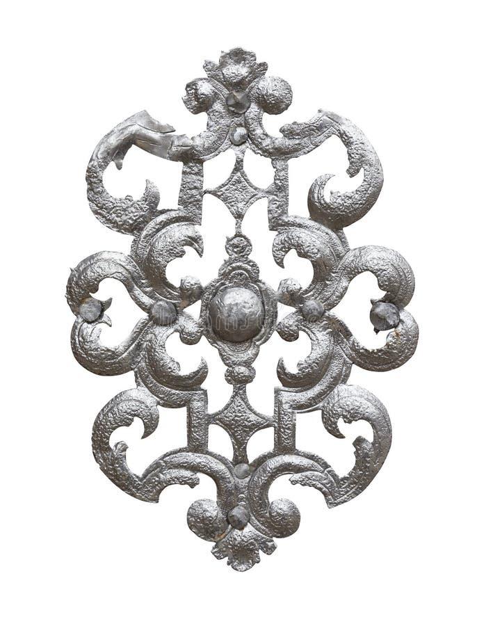 Srebny ornament odizolowywający na białym tle z ścinek ścieżką zdjęcie royalty free