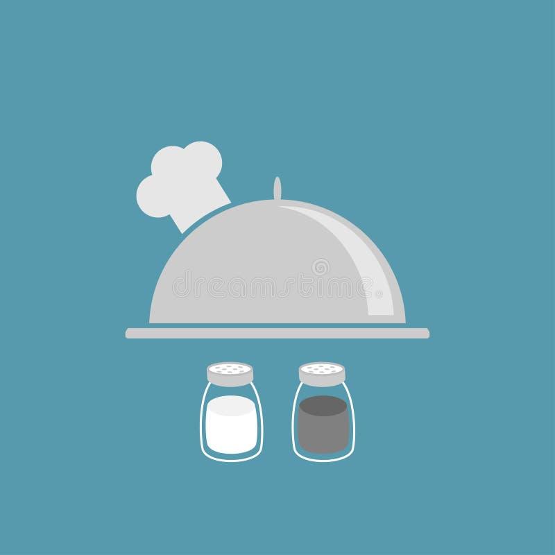 Srebny półmiska cloche szefa kuchni kapelusz Sól, pieprzowy potrząsacz Szklanego zbiornika set Płaski projekt niebieska tła ilustracji