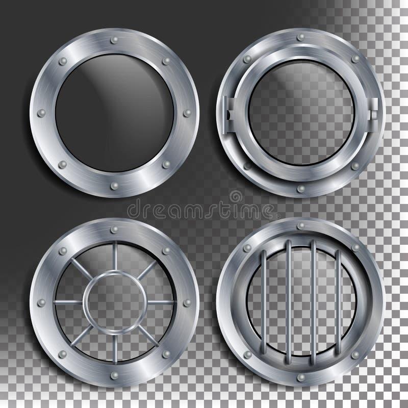 Srebny Porthole wektor Round metalu okno z nitami Bathyscaphe statku ramy projekta element, rakieta, aluminium dla ilustracji