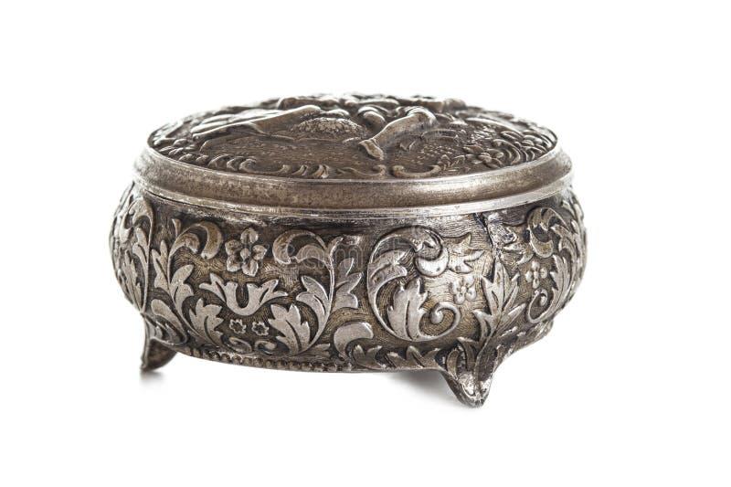Srebny pudełko dla biżuterii fotografia royalty free