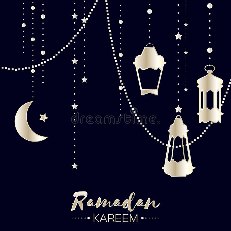 Srebny Ramadan Kareem świętowania kartka z pozdrowieniami royalty ilustracja