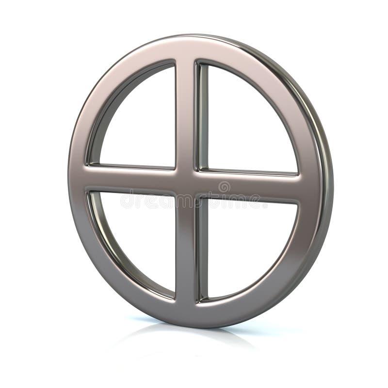 Srebny słońce krzyża symbol ilustracja wektor