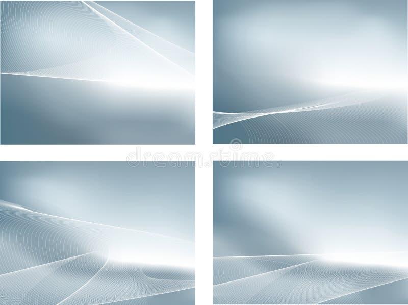 Srebny set 4 gradientowych siatki tła i fala ilustracja wektor