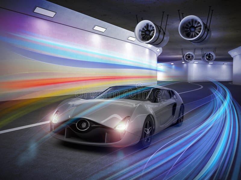 Srebny sporta samochód z kolorowym światłem wlec w tunelu ilustracja wektor