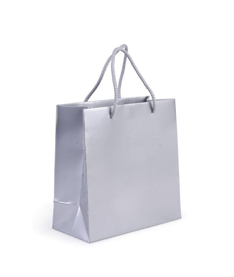 Srebny torba na zakupy na bielu obraz royalty free