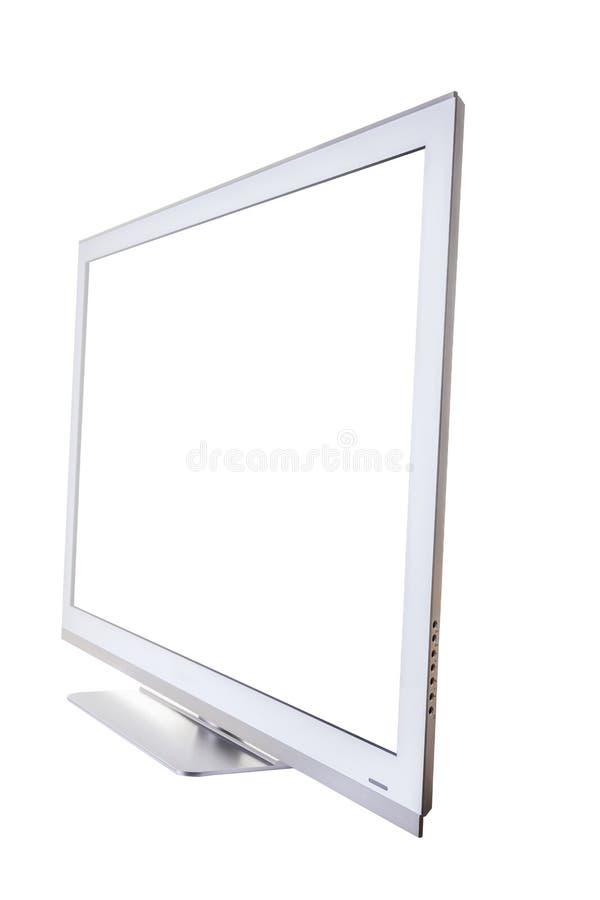 Srebny TV z ekranem odizolowywającym na białym tle Zako?czenie Boczny widok obraz royalty free