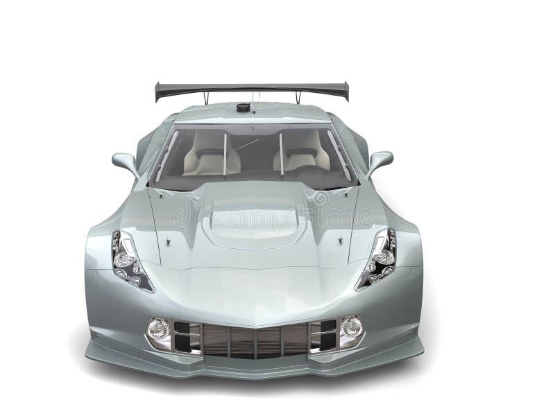 Srebny wytrzymałość samochód wyścigowy - frontowy widok ilustracja wektor