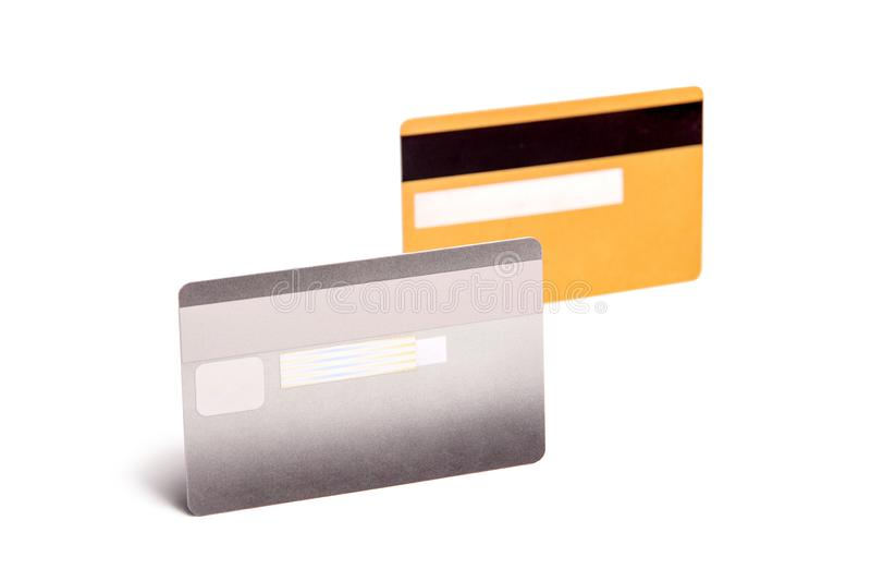 Srebny, złoto ATM i karty kredytowej szablonie zdjęcia royalty free