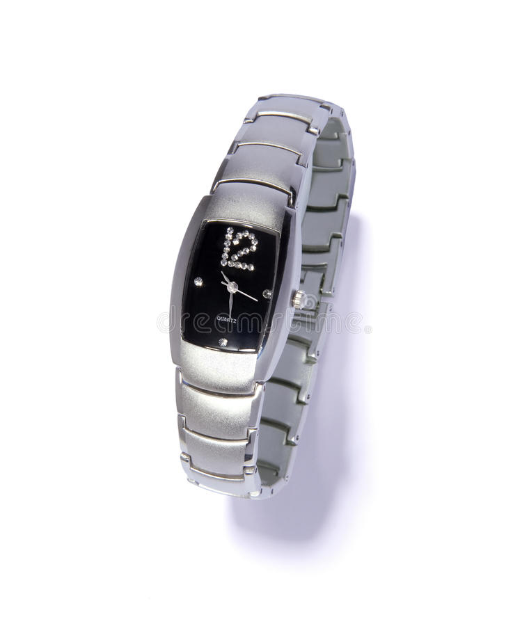 srebny zegarek zdjęcia stock