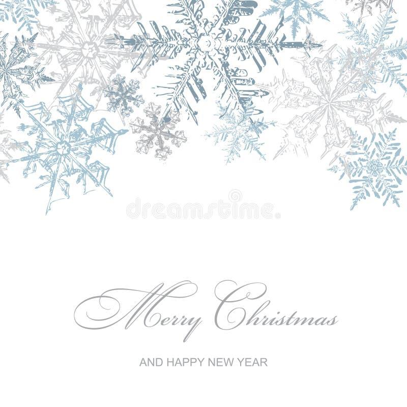 Srebnych płatek śniegu Bożenarodzeniowa kartka z pozdrowieniami, Wektorowy tło ilustracji