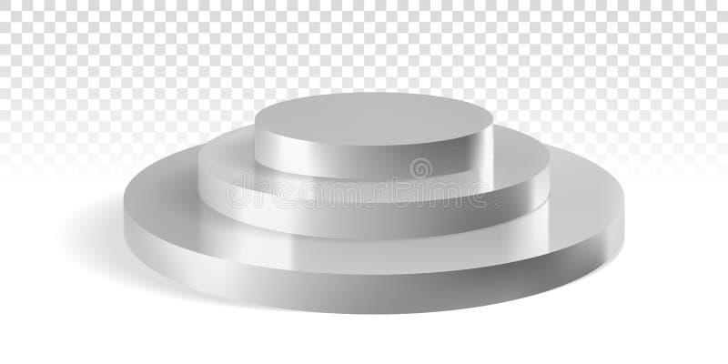 Srebnych podium trzy round kroków wektorowy 3D mockup ilustracji