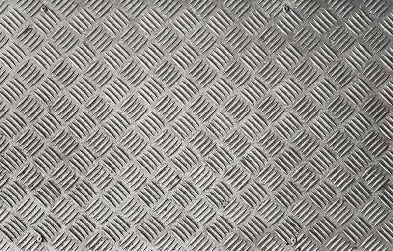 Srebnych szarość metalu Checker talerza ściany deski podłoga tło fotografia royalty free