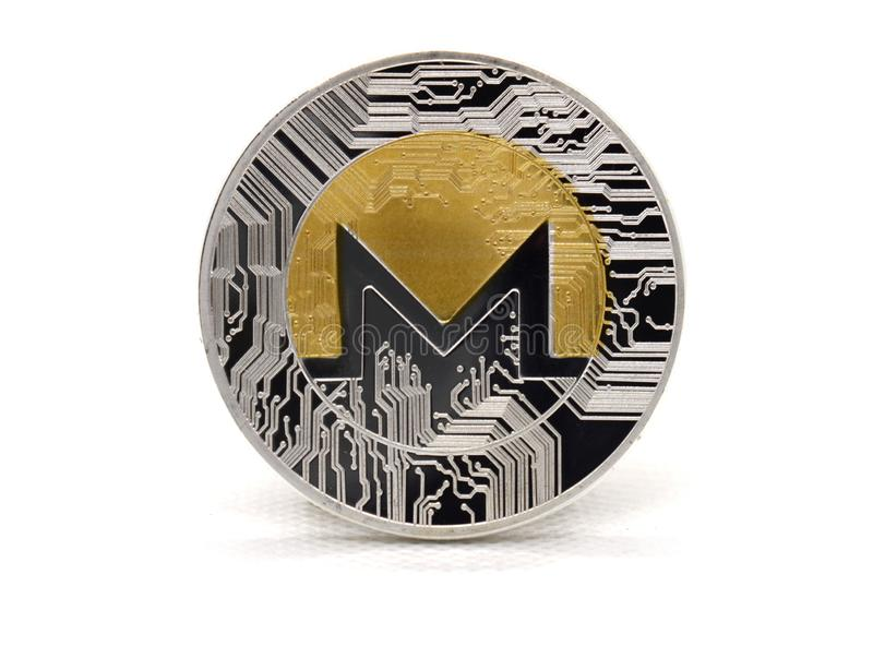 srebra Monero XMR moneta odizolowywająca na białym tle obrazy stock