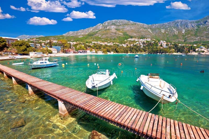Srebreno-Küstenlinie und Ufergegendansicht, touristisches Archipel von Dubrovnik stockfoto