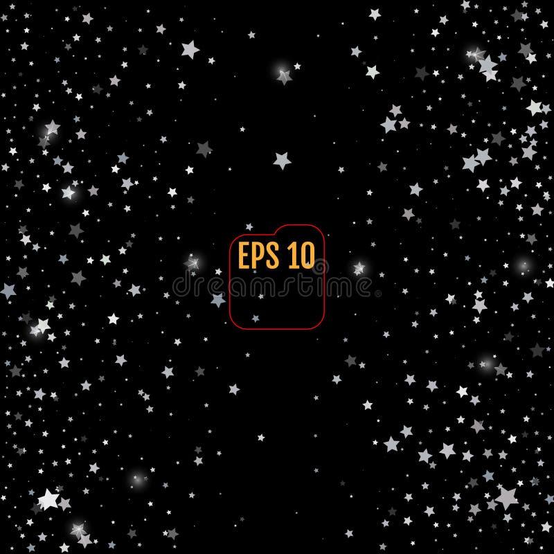 Srebro gwiazdy na czarnym tle E ilustracja wektor