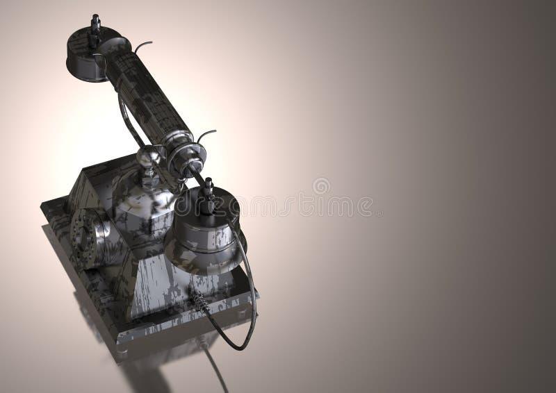 Srebro i czerń telefon na szarości ilustracji