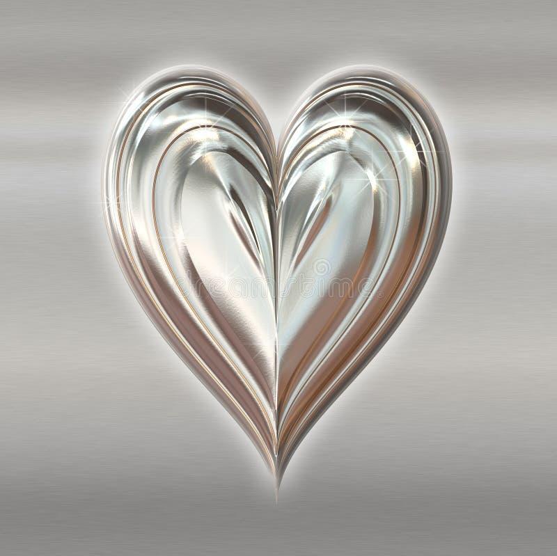 srebro valentines serce metali ilustracja wektor