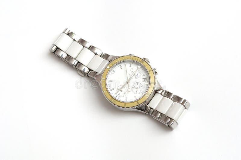 Srebro wszystkie metalu wristwatch dla mężczyzna fotografia stock