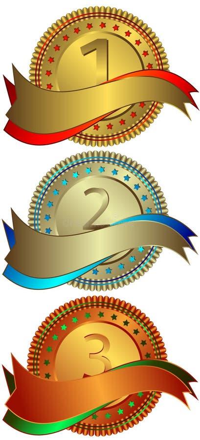 srebrzyści brązowi złoci talerze royalty ilustracja