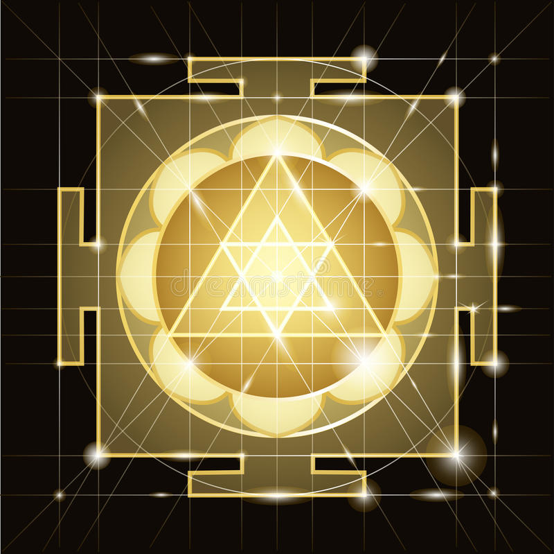 Sree Ganapati扬特拉河 神圣的几何 皇族释放例证
