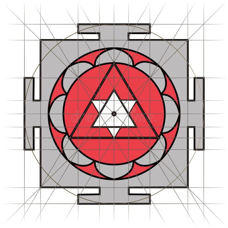 Sree Yantra Heilige Meetkunde stock illustratie