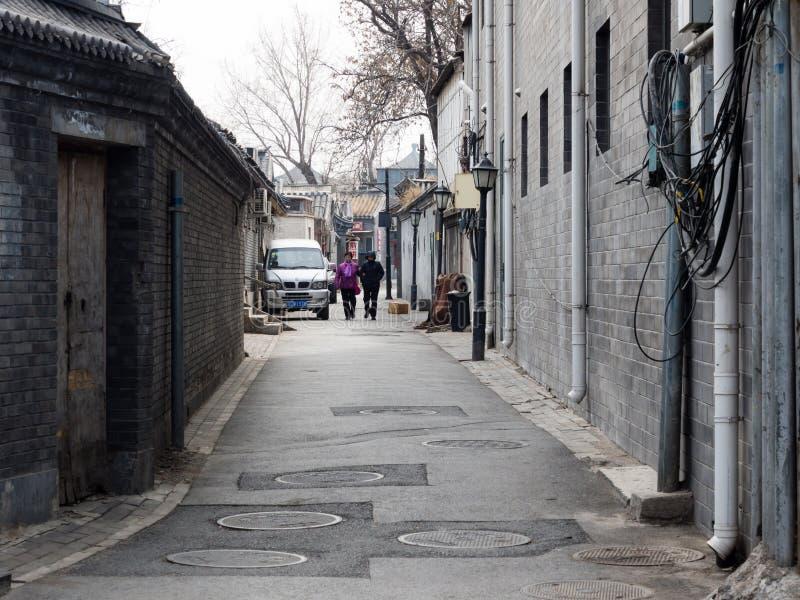 Sreet estreito do hutong no Pequim foto de stock