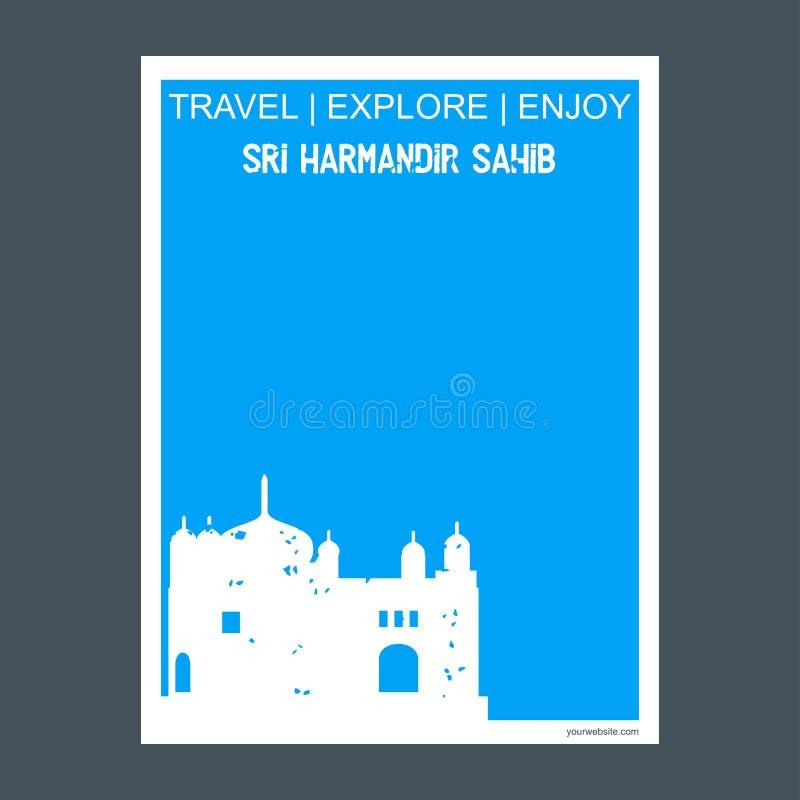 Sri Harmandir Sahib Amritsa, φυλλάδιο Φ ορόσημων μνημείων της Ινδίας ελεύθερη απεικόνιση δικαιώματος